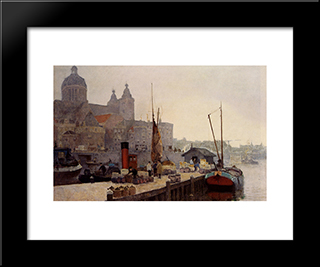 A View Of Amsterdam With The St. Nicolaas Church: Modern Black Framed Art Print by Cornelis Vreedenburgh