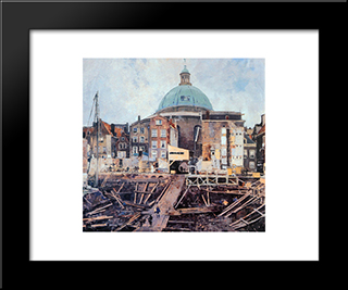 Building Well With Church Amsterdam: Modern Black Framed Art Print by Cornelis Vreedenburgh