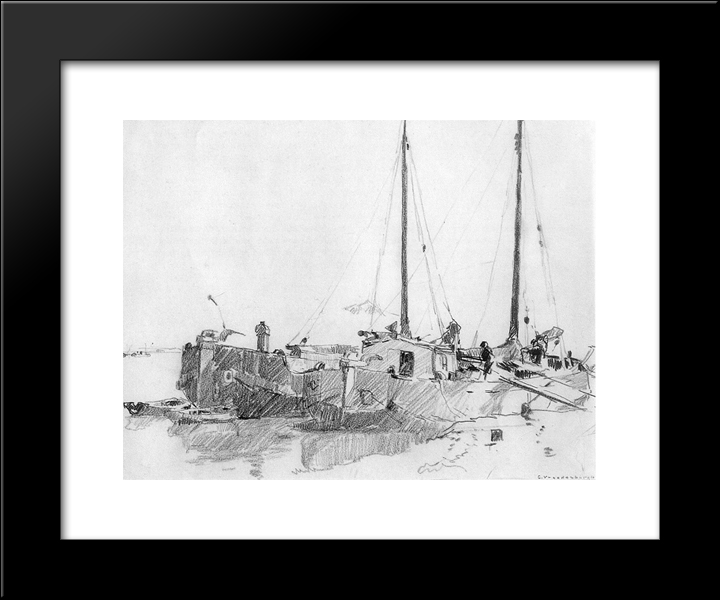 Docked Boats: Modern Black Framed Art Print by Cornelis Vreedenburgh