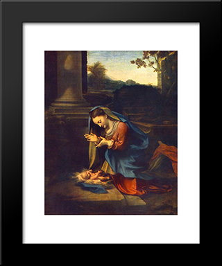 Adoration Of The Child: Modern Black Framed Art Print by Correggio