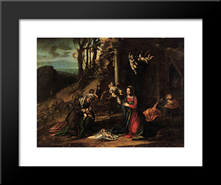 Adoration Of The Christ Child: Modern Black Framed Art Print by Correggio