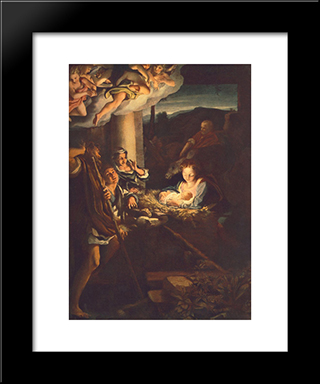 Adoration Of The Shepherds (The Holy Night): Modern Black Framed Art Print by Correggio