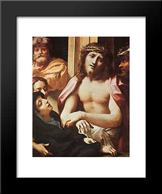 Christ Presented To The People (Ecce Homo): Modern Black Framed Art Print by Correggio