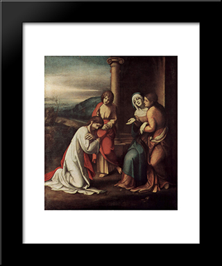 Departure Of Christ From Mary, With Mary And Martha, The Sisters Of Lazarus: Modern Black Framed Art Print by Correggio