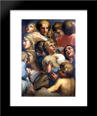 Group Of Angels From Correge: Modern Black Framed Art Print by Correggio