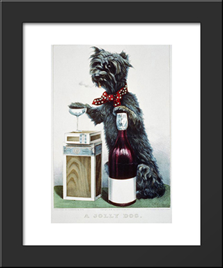 A Jolly Dog: Custom Black Wood Framed Art Print by Currier and Ives