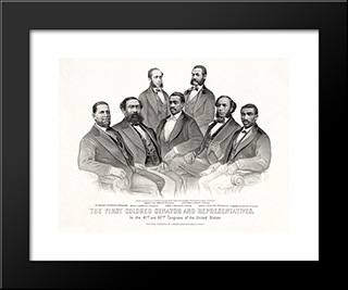 First Colored Senator And Representatives In The 41St And 42Nd Congress Of The United States: Modern Black Framed Art Print by Currier and Ives