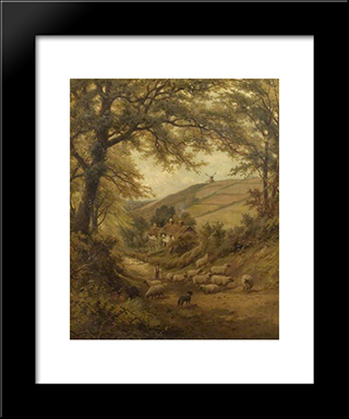 A Dog And A Flock Of Sheep: Modern Black Framed Art Print by David Bates