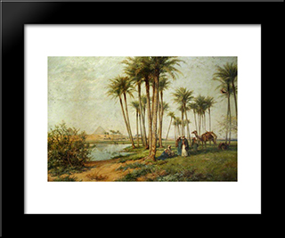 Bedouin At An Oasis With Pyramids: Modern Black Framed Art Print by David Bates
