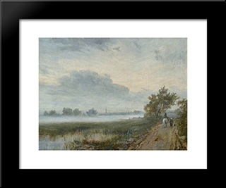 Early Morning On The Severn: Modern Black Framed Art Print by David Bates
