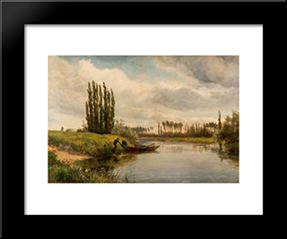 Joinville On The River Marne: Modern Black Framed Art Print by David Bates