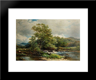 The Banks Of The Brathay, Ambleside, Westmoreland: Modern Black Framed Art Print by David Bates