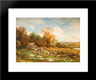Tidal Fence On The River Conway, Bachlediog: Modern Black Framed Art Print by David Bates
