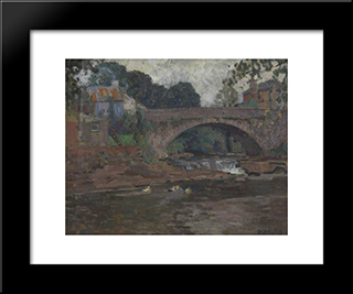Senny Bridge: Modern Black Framed Art Print by David Davies