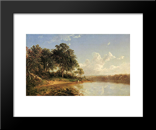Afternoon Along The Banks Of A River: Modern Black Framed Art Print by David Johnson