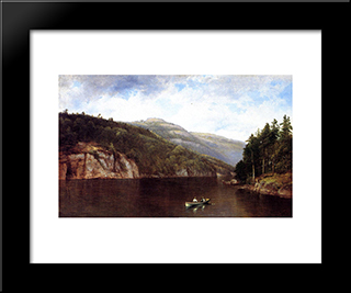 Boating On Lake George: Modern Black Framed Art Print by David Johnson