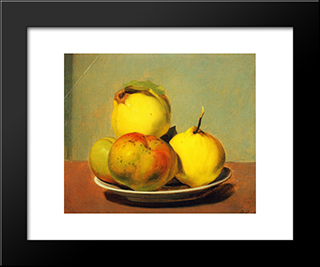 Dish Of Apples And Quinces: Modern Black Framed Art Print by David Johnson