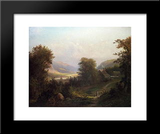Hudson River Scene: Modern Black Framed Art Print by David Johnson