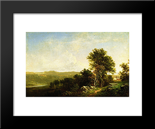 Landscape With House: Modern Black Framed Art Print by David Johnson