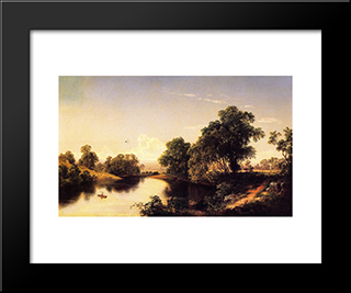 On The Esopus Creek, Ulster County, New York: Modern Black Framed Art Print by David Johnson