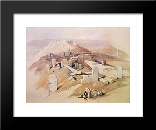 An Ancient Egyptian Temple, On Gebel Garaba: Modern Black Framed Art Print by David Roberts