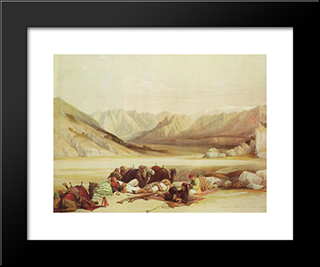 Approach To Mount Sinai: Modern Black Framed Art Print by David Roberts