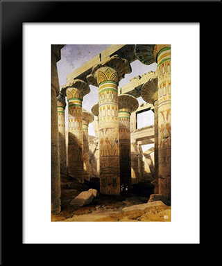 Architecture And Art Of The Great Temple Of Karnak. City Of Thebes. Egypt.: Modern Black Framed Art Print by David Roberts