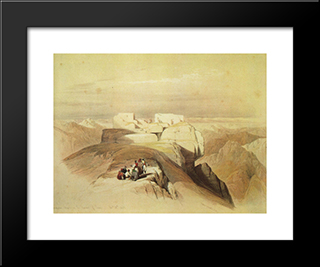 Ascent To The Summit Of Mount Sinai: Modern Black Framed Art Print by David Roberts