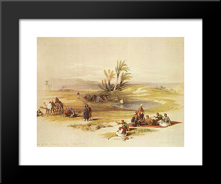 Ayn Mousa. The Wells Of Moses: Modern Black Framed Art Print by David Roberts