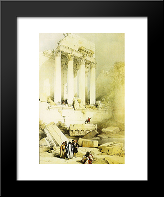 Baalbek. Remains Of The Western Portico Of The Temple Of Jupiter: Modern Black Framed Art Print by David Roberts