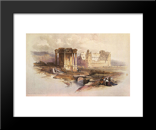 Baalbek. The Circular Temple: Modern Black Framed Art Print by David Roberts