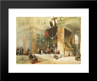 Bethlehem. Shrine Of The Nativity: Modern Black Framed Art Print by David Roberts