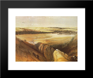 Descent To The Valley Of The Jordan: Modern Black Framed Art Print by David Roberts