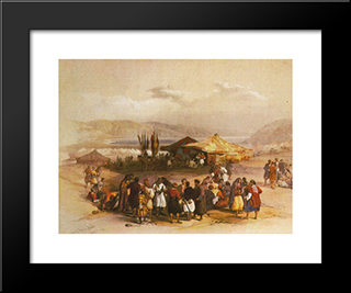 Encampment Of The Pilgrims At Jericho: Modern Black Framed Art Print by David Roberts