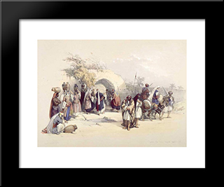 Fountain Of The Virgin, Nazareth: Modern Black Framed Art Print by David Roberts