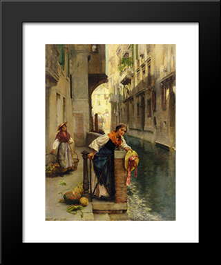 Fruit Sellers From The Islands, Venice: Modern Black Framed Art Print by David Roberts