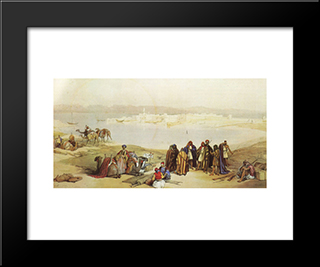 General View Of Suez: Modern Black Framed Art Print by David Roberts