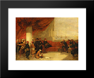 Interview With The Viceroy Of Egypt At His Palace In Alexandria: Modern Black Framed Art Print by David Roberts