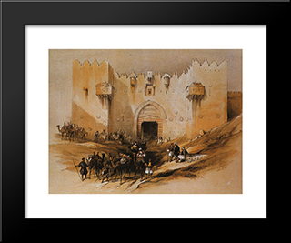 Jerusalem. The Damascus Gate: Modern Black Framed Art Print by David Roberts