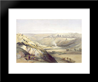 Jerusalem From The Mount Of Olives: Modern Black Framed Art Print by David Roberts