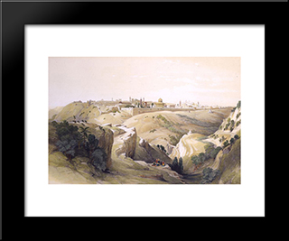 Jerusalem From The Road Leading To Bethany: Modern Black Framed Art Print by David Roberts