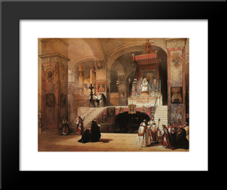 Nazareth. The Church Of The Annunciation: Modern Black Framed Art Print by David Roberts