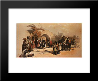 Nazareth. The Fountain Of The Virgin: Modern Black Framed Art Print by David Roberts