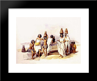 Nubian Women At Korti: Modern Black Framed Art Print by David Roberts