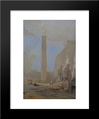 Obelisk At Luxor: Modern Black Framed Art Print by David Roberts