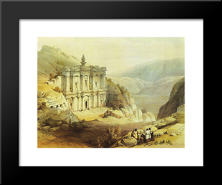Petra. El Deir: Modern Black Framed Art Print by David Roberts