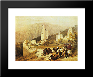 Petra. Ruins Of A Triumphal Arch: Modern Black Framed Art Print by David Roberts