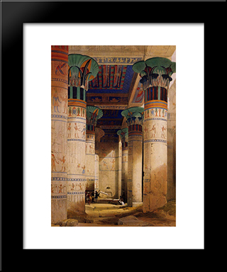 Portico Of The Temple Of Isis At Philae: Modern Black Framed Art Print by David Roberts
