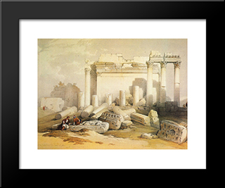 Portion Of The Eastern Portico: Modern Black Framed Art Print by David Roberts