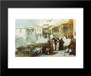 Principal Court Of The Convent Of Saint Catherine: Modern Black Framed Art Print by David Roberts